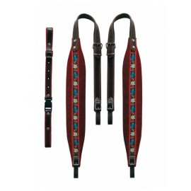 Tyrol carrying straps 7 cm in width, velor red -