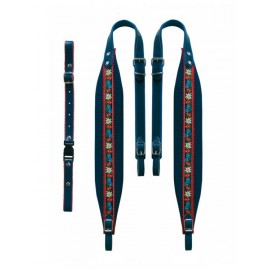 Tyrol carrying straps 7 cm in width, velor blue -