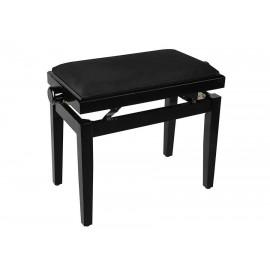 Schwarze Klavierbank in Hochglanz mit höhenverstellbarem Sitz. -