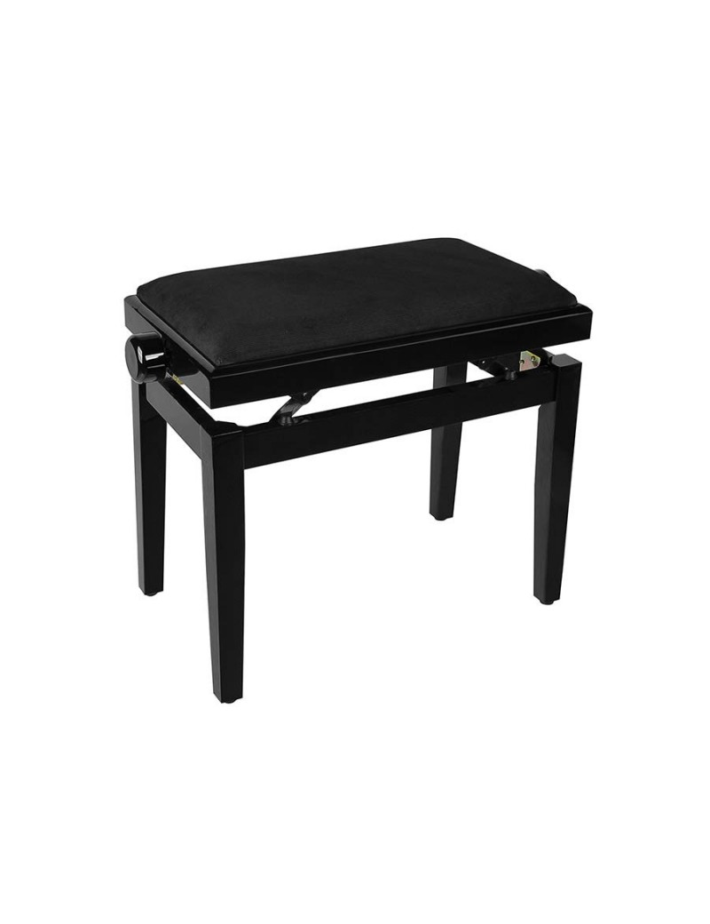 Black high-gloss piano bench with height-adjustable seat. -