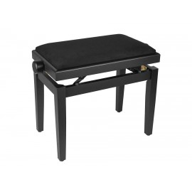 Black satin piano bench with height adjustable seat. -