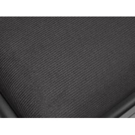 Klavierbank aus schwarzem Satin mit höhenverstellbarem Sitz. -