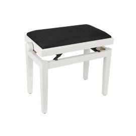 Weiße Klavierbank aus Satin mit höhenverstellbarem Sitz. -