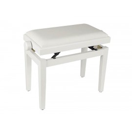 White satin piano bench in height adjustable seat. -
