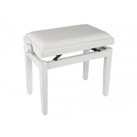 Weiße Klavierbank in Hochglanz mit höhenverstellbarem Sitz. -