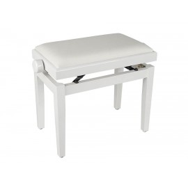White high-gloss piano bench with height-adjustable seat. -