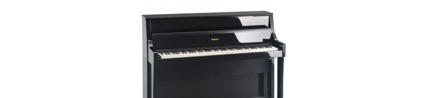 Digital pianos in many different sound qualities and brands.